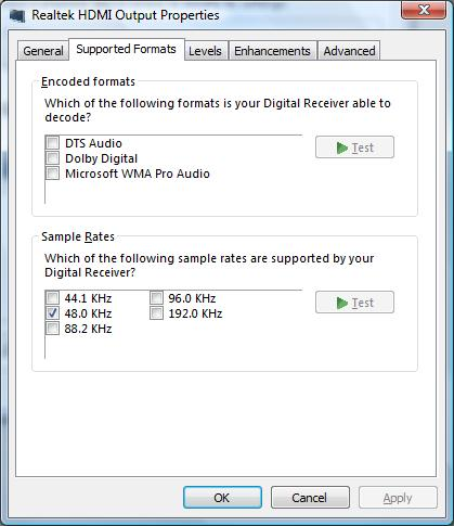 Image of Supported Formats settings in the Realtek HDMI Output Properties window