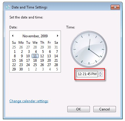 Time setting in the Date and Time Settings window