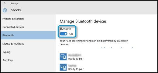 Devices window with Bluetooth tab selected