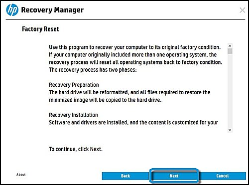 Factory Reset information