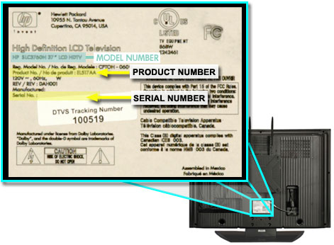 SLC3760N product information label on the back lower center of TV.