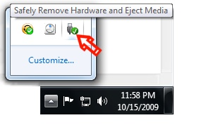 Safely Remove Hardware task tray icon