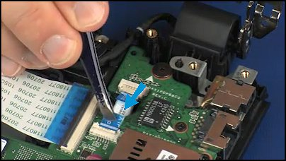 Inserting the ribbon cable into its connector on the USB board