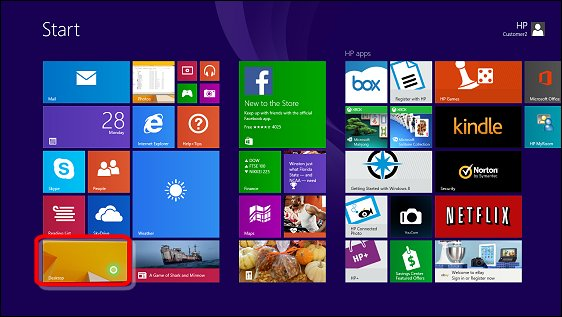 Desktop on the Windows 8 Start screen