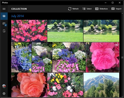 Photo app showing your picture collection
