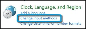 Clock, Language, and Region with Change input methods highlighted