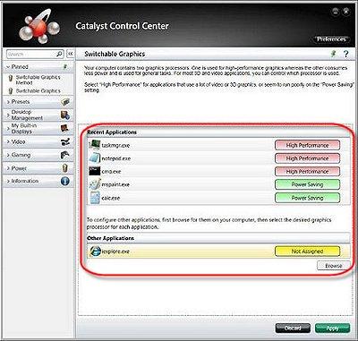 configure switchable graphics windows 7