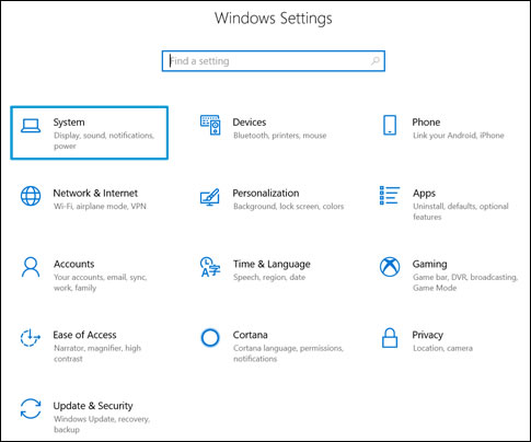 Windows Settings screen with System highlighted