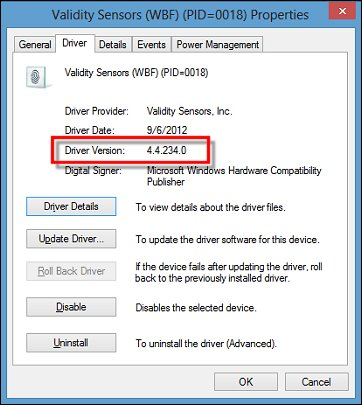Image of the Validity Sensor driver version on the Driver tab in Properties.