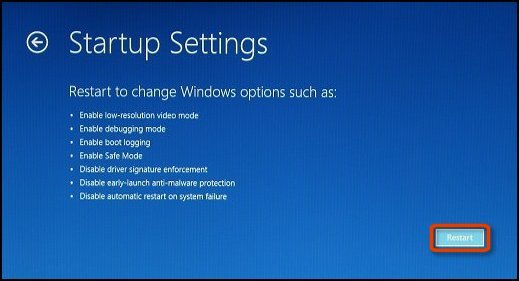 Startup Settings screen with Restart button selected