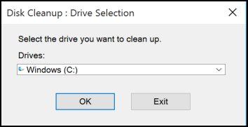 Drive selection in Disk Cleanup