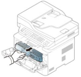Image shows arrow pointing in direction of removing the toner cartridge