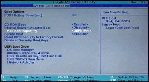 Menu Options d'amorçage