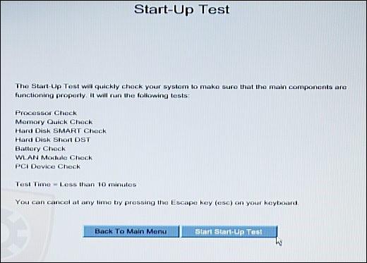 Tela Start-Up Test com Iniciar Start-Up Test destacado