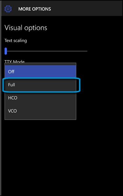 TTY Mode drop-down menu options with Full highlighted