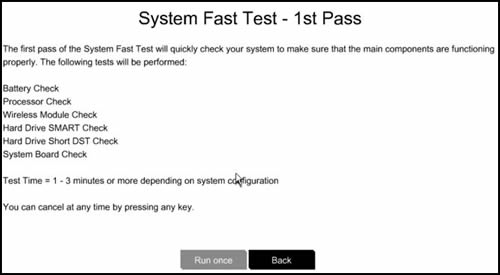 Running the 1st Pass of the System Fast Test