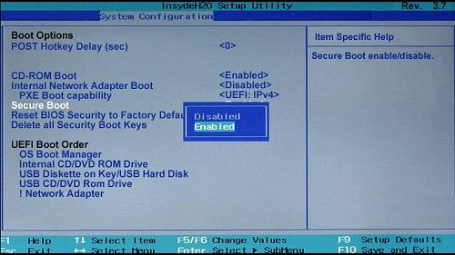 Enable Secure Boot