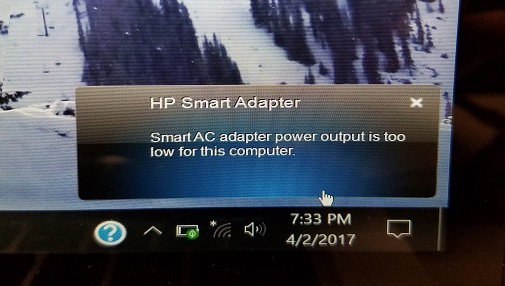 HP Smart Adapter message: Smart AC adapter power output is too low for this computer.