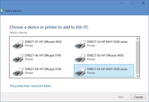 Image: Add Printer screen