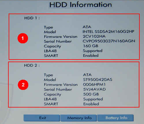 HDD Information screen