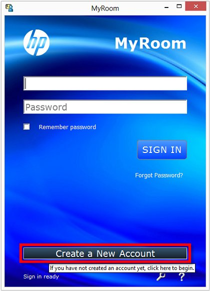 Image of the HP MyRoom sign in screen with Create a New Account selected