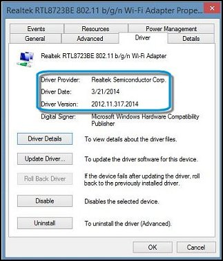 Wi-Fi adapter driver information