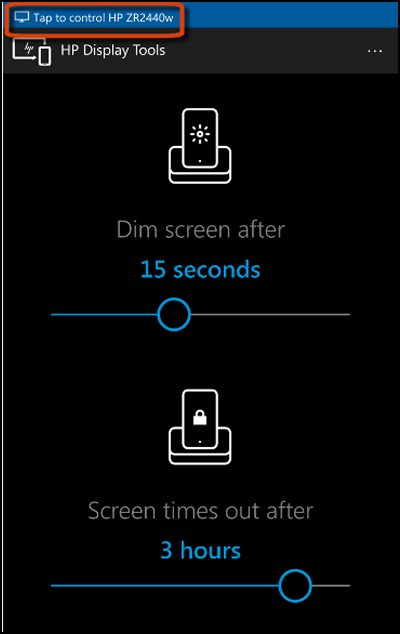 HP Display Tools screen with Tap to control display message highlighted