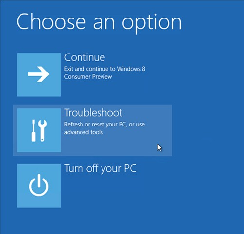 Tapping the Troubleshoot option