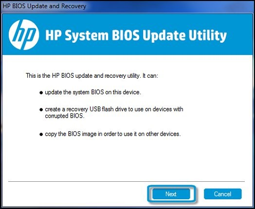 Image: HP System BIOS Update Utility