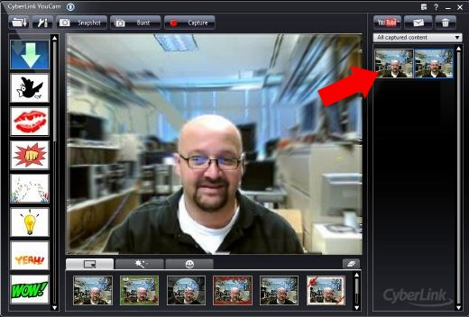 Image of the CyberLink YouCam window with snapshot thumbnails
