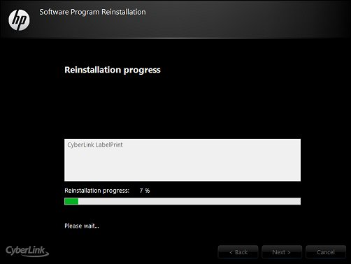 The software reinstallation progress screen