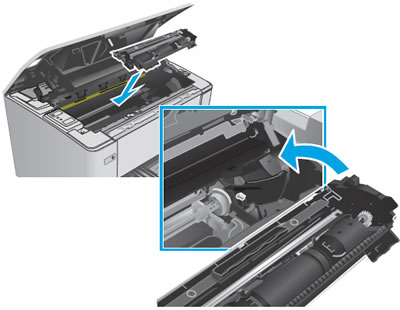 Insert the new imaging drum and toner cartridge assembly