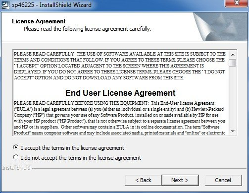 Image of the end user license agreement