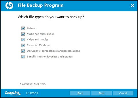 Selecting file types to backup