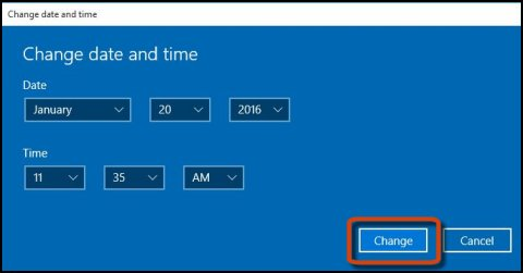 Change date and time screen with Change highlighted