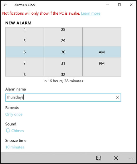 Choosing the alarm settings