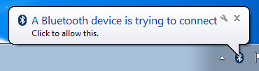 Example of an authorization message after connecting your Bluetooth device