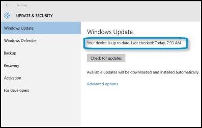 O dispositivo está atualizado (Windows10)