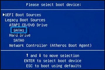 Please select boot option device with SATA1 selected.