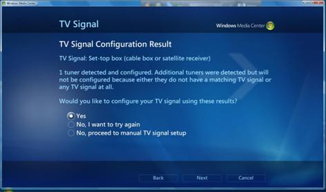 screen shot from Media Center showing TV signal configuration results