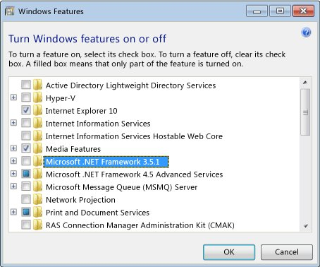 Windows Features with .Net Framework 3.5.1 selected