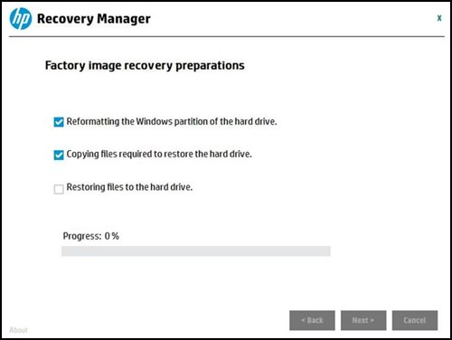 Factory image recovery preparations screen