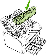 Illustration of reinstalling the print cartridge.