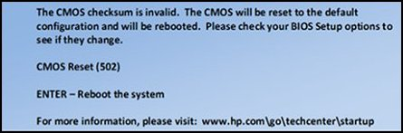 Successful CMOS reset button message