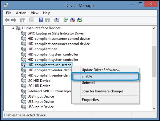 Enable HID-compliant touch screen in Device Manager