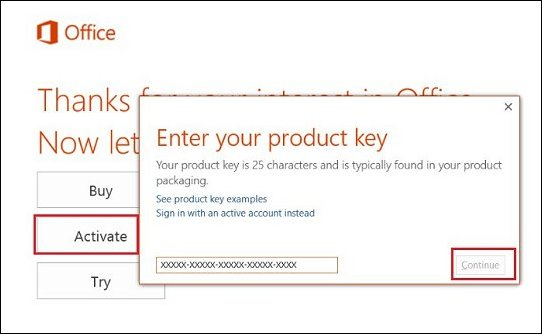 ms office 2016 25 character product key