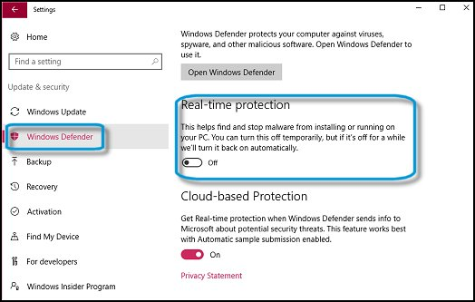 Windows Defender 已關閉。