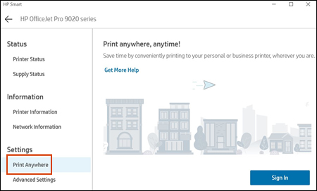 Example of Print Anywhere compatibility in the HP Smart app