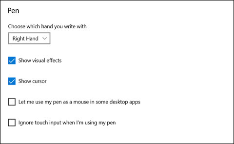 The Pen settings window