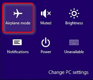 Image of Airplane mode icon in Windows settings